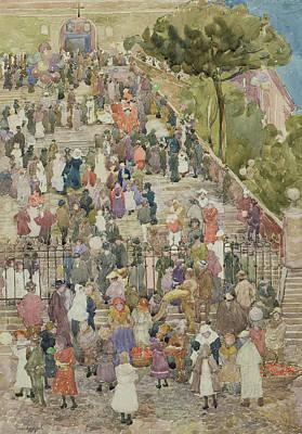 Crowd Scene Drawing - Steps Of Santa Maria Aracoeli by Maurice Brazil Prendergast
