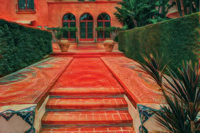 Mixed Media - Steps To Red Brick Path by Joseph Hollingsworth