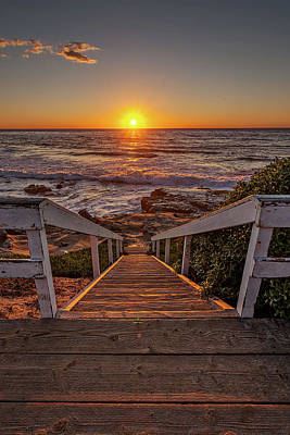 California Seascape Photograph - Steps To The Sun  by Peter Tellone