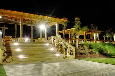 Carolina Beach Photograph - Steps Up To The Carolina Beach Boardwalk At Night by Greg Mimbs