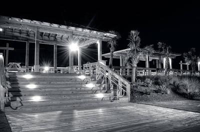Carolina Beach Photograph - Steps Up To The Carolina Beach Boardwalk At Night In Black And W by Greg Mimbs