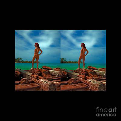 Stereoscopic Driftwood Beach Bikini Girl Audrey Michelle 007 Print by Rolf Bertram
