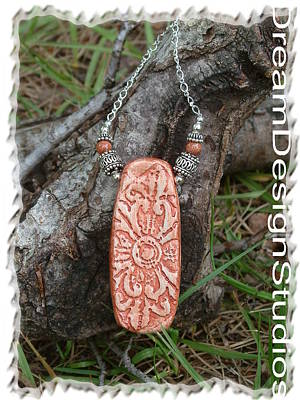 Sterling Silver And Clay Pendant Necklace Original
