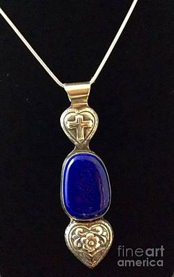Sterling Silver And Lapis Necklace Original by Melany Sarafis