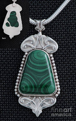 Sterling Silver And Malachite Art Nouveau Pendant Original