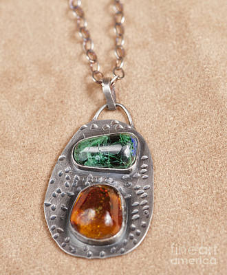 Sterling Silver Necklace With Malechite And Amber Original