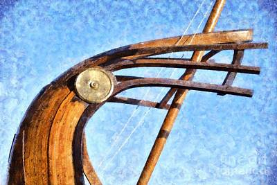 Greek Painting - Stern Of A Full Scale Copy Of An Ancient Trireme by George Atsametakis