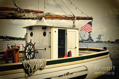 Historic Schooner Photograph - Stern Of A Sailboat Docked In Philadelphia by George Oze