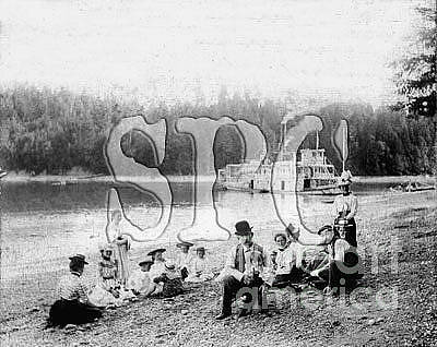 Photograph - Sternwheel Steamer And Passengers At Butler's Cove 1905-10 by Joe Jeffers