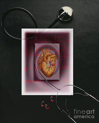 Photograph - Stethoscope And Heart by George Mattei