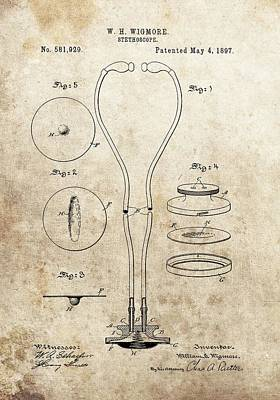 Drawing - Stethoscope Illustration Vintage by Dan Sproul