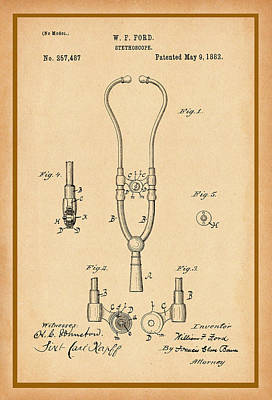 Photograph - Stethoscope Patent Drawing by Carlos Diaz