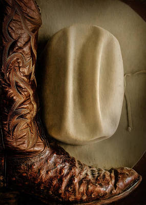 Photograph - Stetson Hat And Cowboy Boot  by David and Carol Kelly