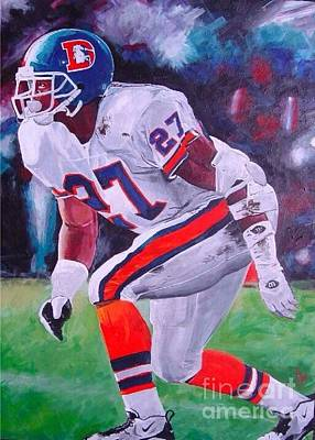 Steve Atwater Painting - Steve Atwater #1 by Ian Jackson