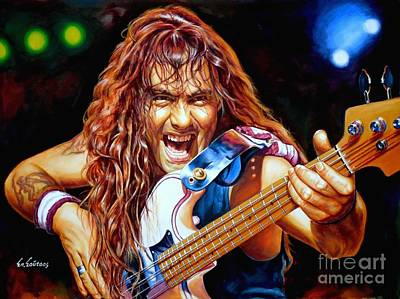 Heavy Metal Painting - Steve Harris Iron Maiden by Spiros Soutsos
