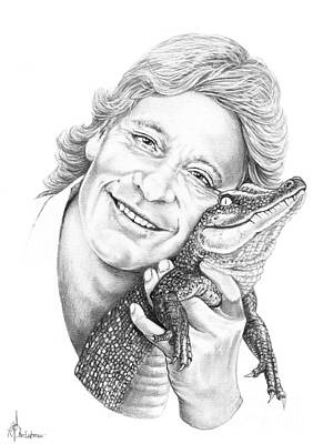 Crocodile Drawing - Steve Irwin Crocodile Hunter by Murphy Elliott