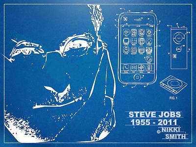Steve Jobs Digital Art - Steve Jobs Iphone Patent Artwork by Nikki Marie Smith