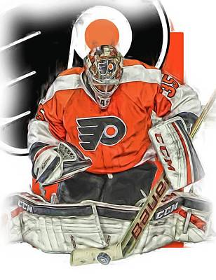 Mixed Media - Steve Mason Philadelphia Flyers Oil Art by Joe Hamilton