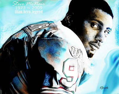 Tennessee Drawing - Steve Mcnair - Tennessee Titan Legend by Carole Jacobs