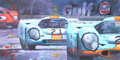 Gulf Painting - Steve Mcqueen Le Mans Porsche 917 01 by Yuriy Shevchuk