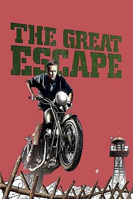 The Great Escape Photograph - Steve Mcqueen On Motorcycle The Great Escape Poster 1963 Color Added 2016 by David Lee Guss