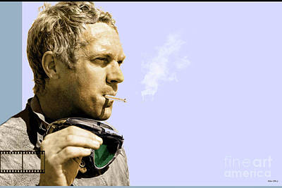 Angels Smoking Mixed Media - Steve Mcqueen Portrait by Thomas Pollart