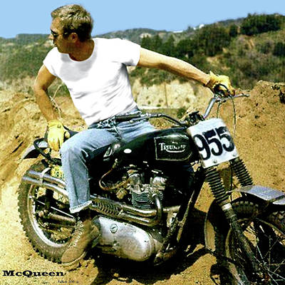 Babe Ruth Mixed Media - Steve Mcqueen, Triumph Motorcycle, On Any Sunday by Thomas Pollart