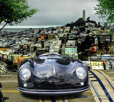 Los Angeles Dodgers Mixed Media - Steve Mcqueen's 58' Porsche 356 1600 Speedster, Telegraph Hill, San Francisco, Ca by Thomas Pollart