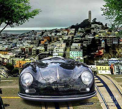 Steve Mcqueen's 58' Porsche 356 1600 Speedster, Telegraph Hill, San Francisco, Ca Art Print