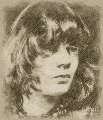 Musicians Drawings Rights Managed Images - Steve Miller, Musician Royalty-Free Image by Esoterica Art Agency