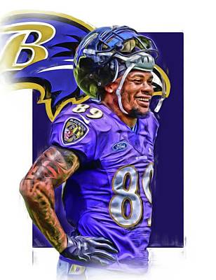 Steve Smith Sr Baltimore Ravens Oil Art Art Print by Joe Hamilton