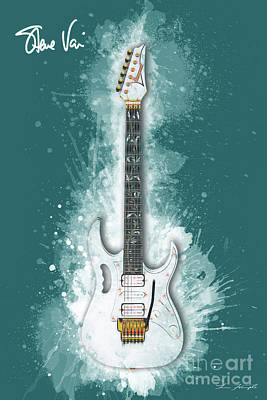Steve Vai Digital Art - Steve Vai Guitar by Tim Wemple