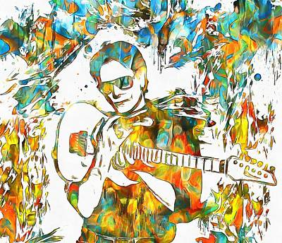 Guitar God Painting - Steve Vai Paint Splatter by Dan Sproul