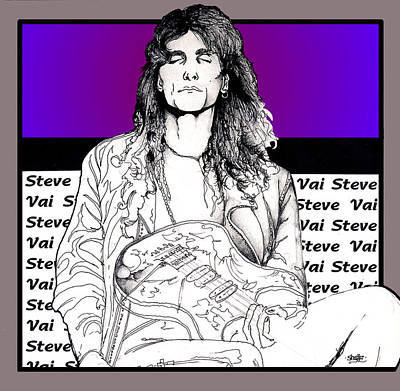 Art Print featuring the mixed media Steve Vai Sitting by Curtiss Shaffer