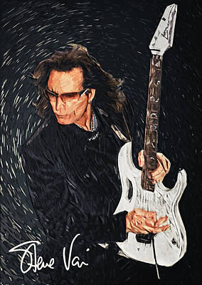Digital Art - Steve Vai by Taylan Apukovska
