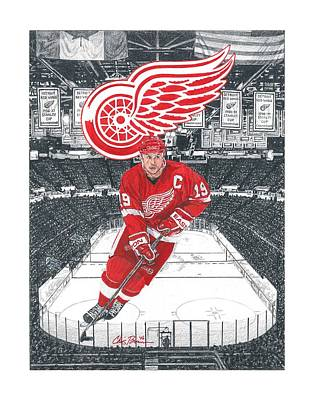 Mixed Media - Steve Yzerman  by Chris Brown