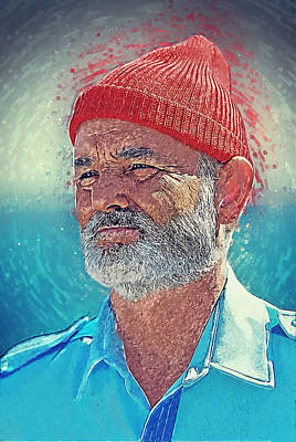 Digital Art - Steve Zissou by Taylan Apukovska
