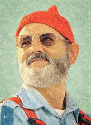 Character Portraits Painting - Steve Zissou by Taylan Apukovska