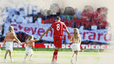 Steven Gerrard Walks Out For His Final Game At Anfield With Fami Original by Don Kuing