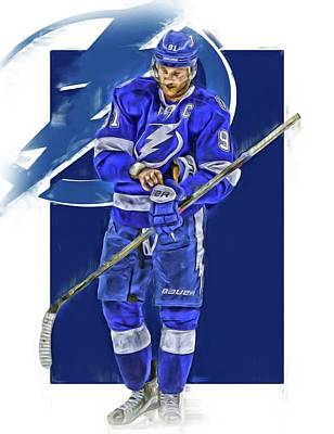 Lightning Mixed Media - Steven Stamkos Tampa Bay Lightning Oil Art Series 2 by Joe Hamilton