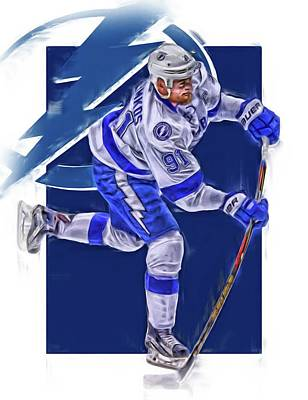 Lightning Mixed Media - Steven Stamkos Tampa Bay Lightning Oil Art Series 3 by Joe Hamilton