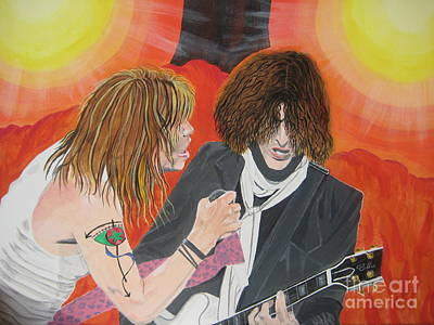 Art Print featuring the painting Steven Tyler And Joe Perry Painting by Jeepee Aero