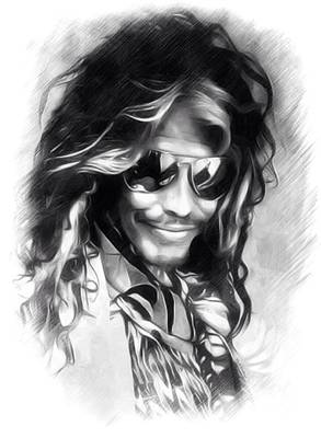 Aerosmith Digital Art - Steven Tyler Illustration  by Scott Wallace
