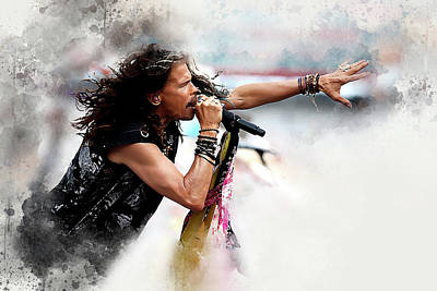 Steven Tyler Digital Art - Steven Tyler by Karl Knox