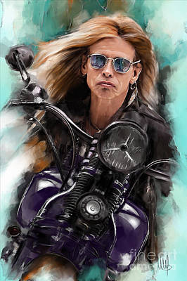 Steven Tyler Painting - Steven Tyler On A Bike by Melanie D