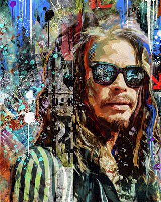 Steven Tyler Digital Art - Steven Tyler Tribute by Sarah Rasul
