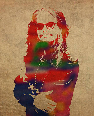 Steven Tyler Mixed Media - Steven Tyler Watercolor Portrait Aerosmith by Design Turnpike