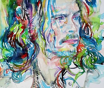 Painting - Steven Tyler - Watercolor Portrait by Fabrizio Cassetta