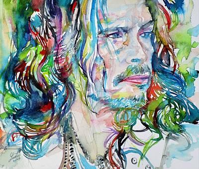 Steven Tyler Painting - Steven Tyler - Watercolor Portrait by Fabrizio Cassetta