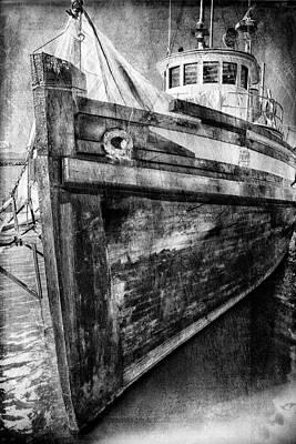 Photograph - Steveston Fishing Boat B And W by Theresa Tahara